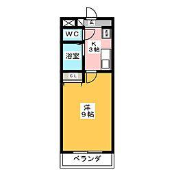 A・City岡崎矢作 4階1Kの間取り