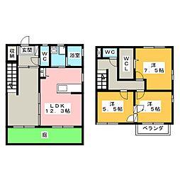 [テラスハウス] 三重県四日市市三滝台3丁目 の賃貸【/】の間取り