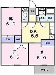 東京都町田市大蔵町の賃貸アパートの間取り
