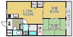 京阪本線 西三荘駅 徒歩15分の賃貸マンション 4階2LDKの間取り