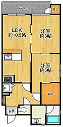 甲子園東行マンション[3階]の間取り