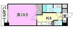 カサグランデ リバーサイドI 8階1Kの間取り