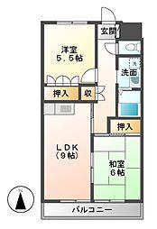 フォレスト三本木[2階]の間取り