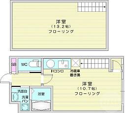 JR仙山線 東北福祉大前駅 徒歩14分の賃貸マンション 4階1LDKの間取り