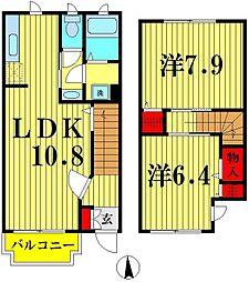 埼玉県越谷市宮本町3丁目の賃貸アパートの間取り