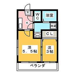 福岡県福岡市南区多賀1丁目の賃貸アパートの間取り