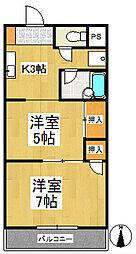 福岡県久留米市御井旗崎3丁目の賃貸マンションの間取り