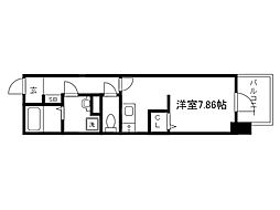 Osaka Metro中央線 谷町四丁目駅 徒歩2分の賃貸マンション 14階ワンルームの間取り