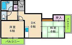 コスモコーポ北田辺[2階]の間取り
