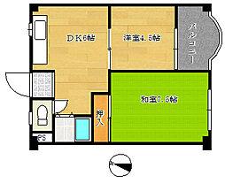 兵庫県神戸市兵庫区松原通4丁目の賃貸マンションの間取り