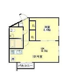 東京都板橋区徳丸1丁目の賃貸アパートの間取り