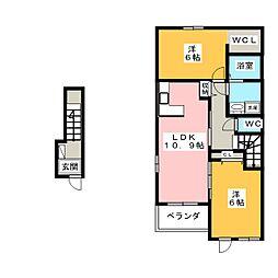 カーサ・プラシード B[2階]の間取り