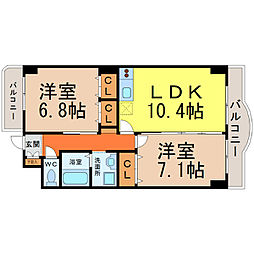 愛知県名古屋市中川区尾頭橋3丁目の賃貸マンションの間取り