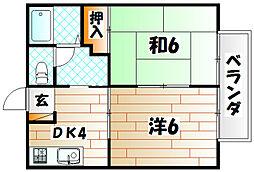 ビーラインK[2階]の間取り