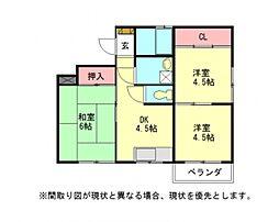 愛知県江南市前飛保町栄の賃貸アパートの間取り