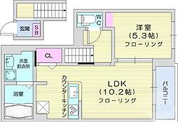 レイ クレスト 2階1LDKの間取り