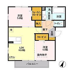 エスポワールII[2階]の間取り