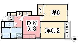 兵庫県赤穂市尾崎字沼水尾の賃貸アパートの間取り