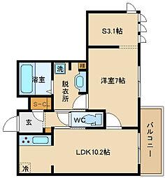 大阪府八尾市二俣1丁目の賃貸アパートの間取り
