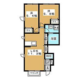 グランシャリオB棟[1階]の間取り