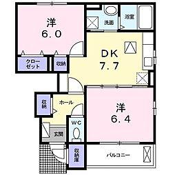 JR高徳線 阿波川端駅 徒歩23分の賃貸アパート 1階2DKの間取り