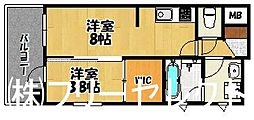 福岡県福岡市博多区博多駅南5丁目の賃貸マンションの間取り