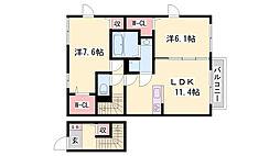 JR赤穂線 播州赤穂駅 徒歩27分の賃貸アパート 2階2LDKの間取り
