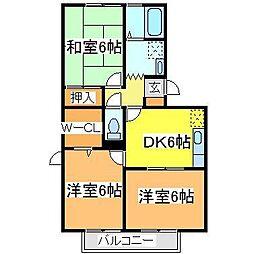 広島県東広島市西条中央5丁目の賃貸アパートの間取り