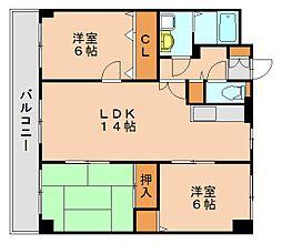パラディ211[3階]の間取り