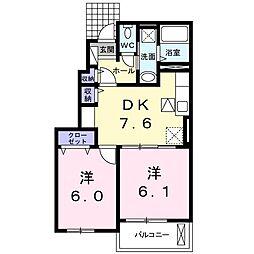 南竜王町アパート[0102号室]の間取り