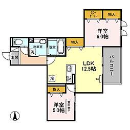 (仮)D-room南鳩ヶ谷2丁目[202号室]の間取り