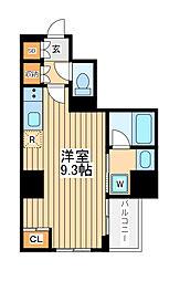 アゼスト川崎大師2 7階ワンルームの間取り