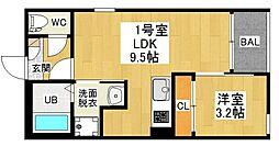 愛知県名古屋市中村区牛田通3の賃貸アパートの間取り