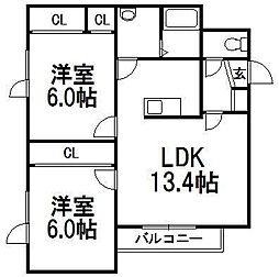 北海道札幌市手稲区西宮の沢三条2丁目の賃貸アパートの間取り