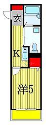 京成本線 船橋競馬場駅 徒歩2分の賃貸アパート 2階1Kの間取り