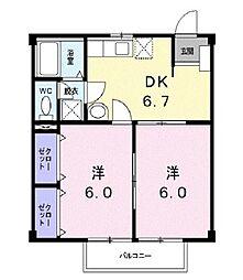 滋賀県栗東市目川の賃貸アパートの間取り