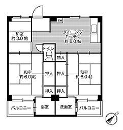ビレッジハウス瀬田5号棟[203号室]の間取り