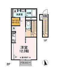 JR東北本線 福島駅 バス23分 花見山入口下車 徒歩2分の賃貸アパート 2階1Kの間取り