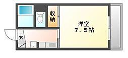 岡山県岡山市北区今村の賃貸マンションの間取り