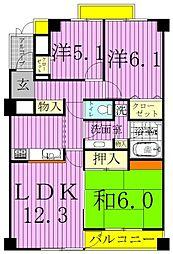 千葉県柏市中新宿1丁目の賃貸マンションの間取り