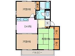 三重県四日市市下さざらい町の賃貸アパートの間取り