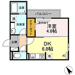 フローラ下祇園駅前 3階1DKの間取り