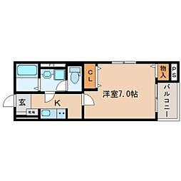 JR東海道本線 東静岡駅 徒歩6分の賃貸マンション 2階1Kの間取り