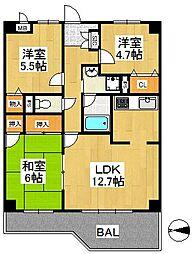 オークレイコート高松II[2階]の間取り
