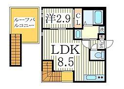 千葉県柏市東2丁目の賃貸アパートの間取り
