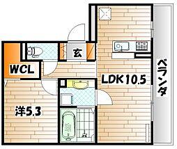 エスポワール祇園 B棟[3階]の間取り