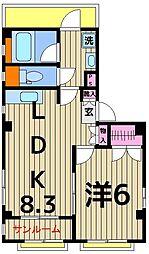 東京都足立区柳原2丁目の賃貸マンションの間取り