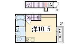 兵庫県姫路市庄田の賃貸アパートの間取り