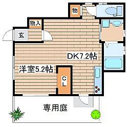 JR山陽本線 西明石駅 徒歩11分の賃貸アパート 1階1DKの間取り