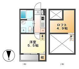 Cozy House 清水[2階]の間取り